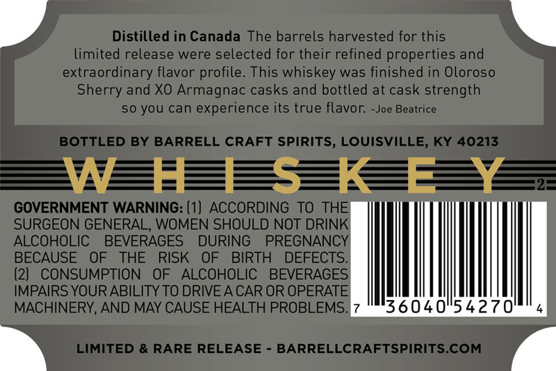 Barrell Craft Spirits Gray Label 24-Year-Old Whiskey Finished in Oloroso Sherry and XO Armagnac casks