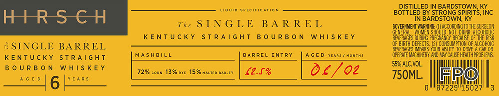 Hirsch: The Single Barrel back and sides label