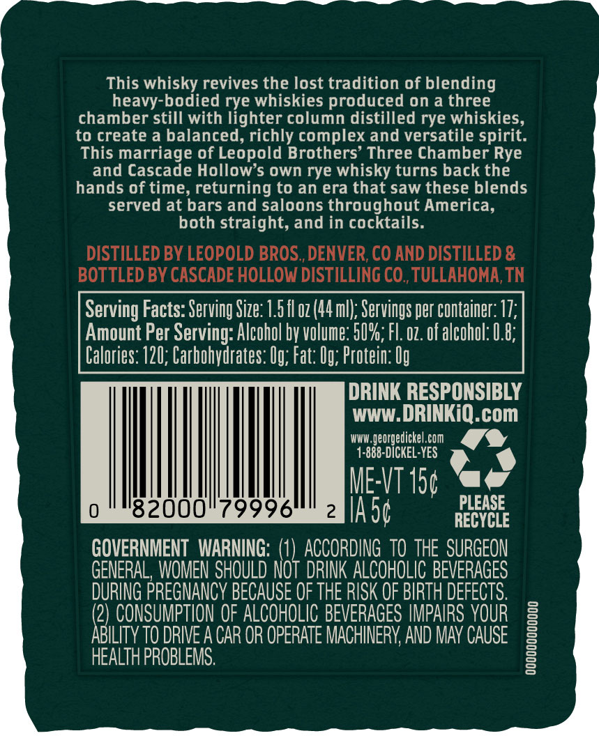 George Dickel and Leopold Bros. Collaboration Blend Rye Whiskey Back Label