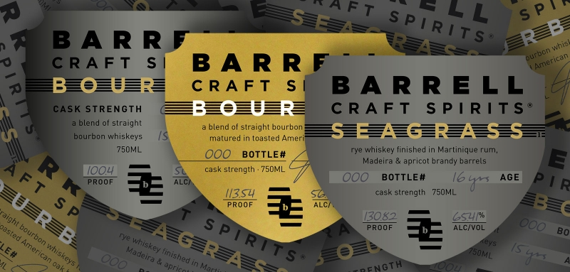 Barrell Craft Spirits 2021 bourbon, toasted barrel bourbon, and Seagrass labels