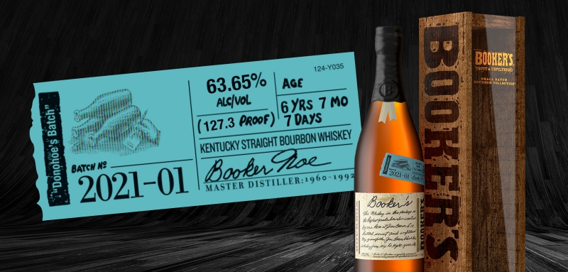 Booker's Donohoe's Batch 2021-01 label and bottle