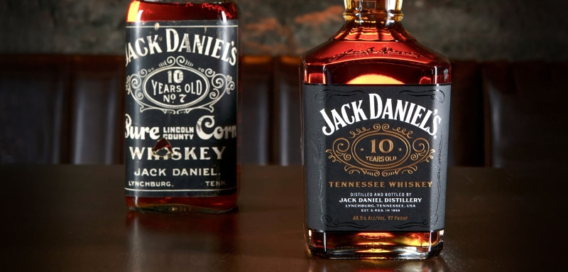 Jack Daniel's 10-Year-Old Tennessee Whiskey - new and old bottles