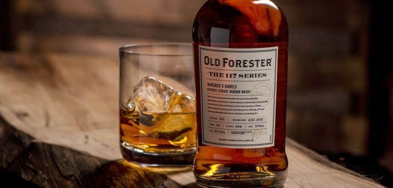 Old Forester 117 Series Warehouse K bottle and pour